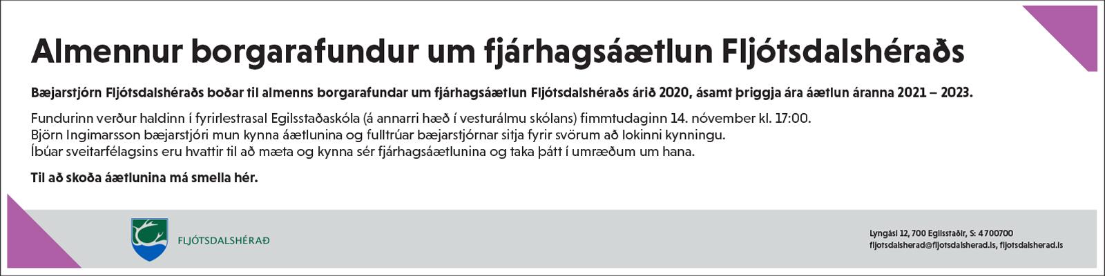 Fljótsdalshérað borgarafundur nóvember 2019