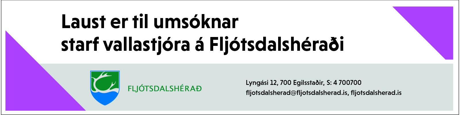 Fljótsdalshérað vallarstjóri atvinna